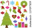 Vector Set of Patchwork Christmas Elements - stock vector