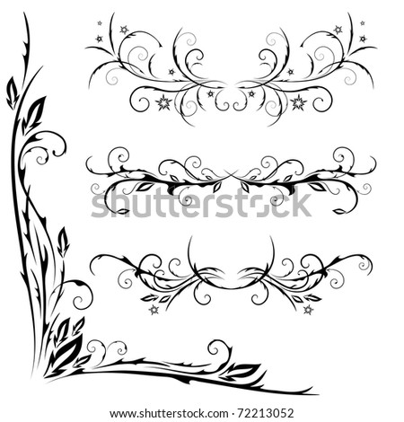 vector set of patterns for design on a white background - stock vector