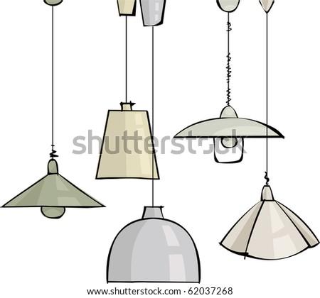 Vector set of pendant lamps - stock vector