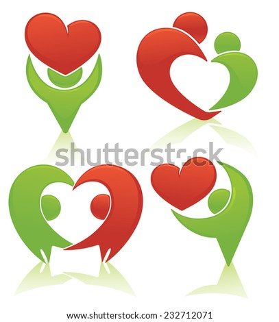 vector set of people, couple, family, love and happiness - stock vector