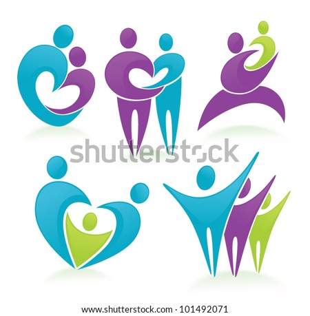 vector set of people, family and happiness - stock vector