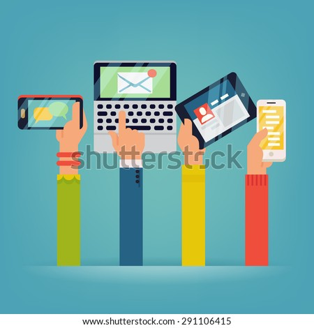 Vector set of people hands holding mobile devices. People using their phones, tablets and laptops with different applications running - stock vector