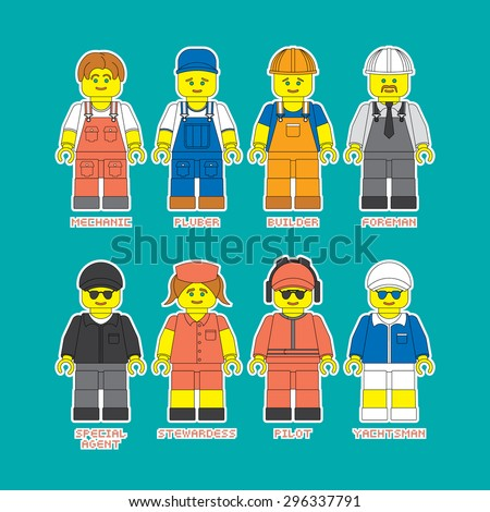 Vector set of people of different professions. Vector man made in flat style with outline. Vector people of different professions in working form. Isolated vector man icons in constructor style.  - stock vector