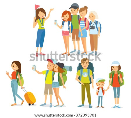 vector set of people traveling - stock vector