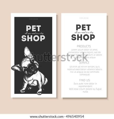 vector set pet shop flyers dog stock vector 496540954 shutterstock. Black Bedroom Furniture Sets. Home Design Ideas