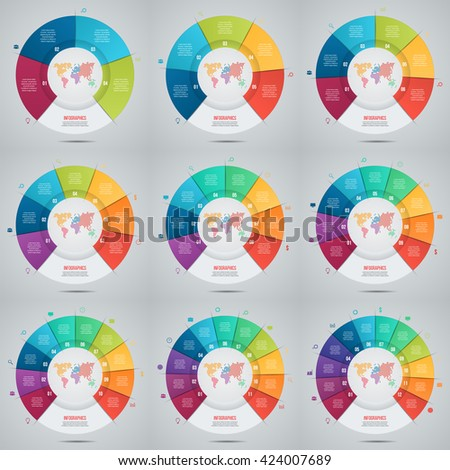 Vector set of pie chart template for graphs, charts, diagrams. Business circle infographic concept - stock vector