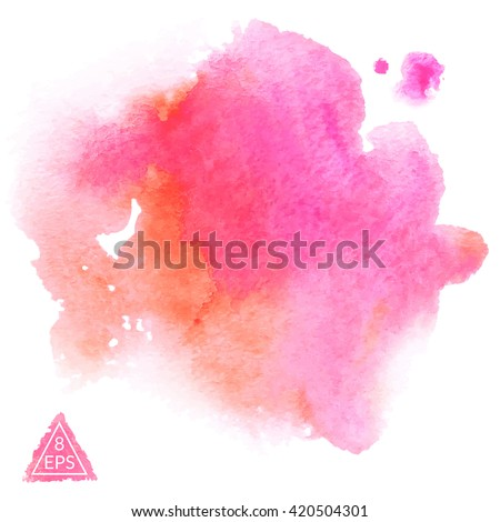 Vector. Set of pink and orange watercolor blots isolated on white background. Watercolor blot for your design, logo, emblem, banner. - stock vector