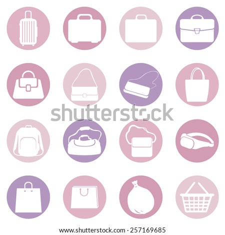 Vector Set of Pink and Purple Bags  Icons. Types of Bags - stock vector