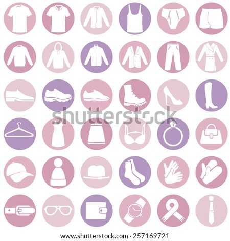 Vector Set of Pink and Purple Clothes  Icons - stock vector