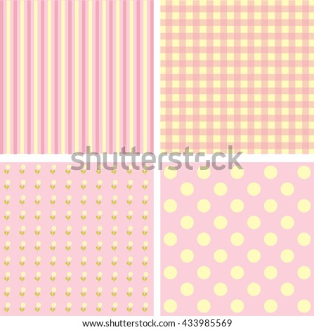 Vector set of 4 pink background patterns. - stock vector