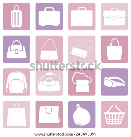 Vector Set of Pink Water Icons - stock vector