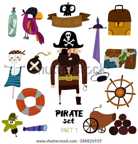 Vector set of pirate items:  pirate,map, chest, parrot, skeleton, starand sword.Colorful cartoon collection - Part 1 -stock vector - stock vector