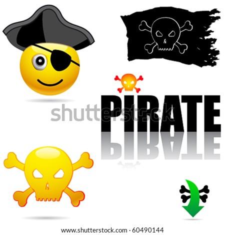 Vector set of pirate symbols - stock vector