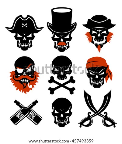 Vector set of pirates skulls. Jolly Roger.