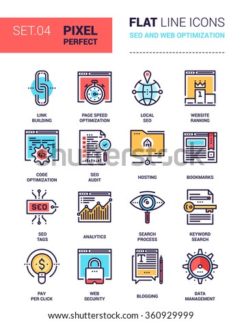 Vector set of pixel perfect based on 64 px grid colorful flat line web icons on SEO and web optimization theme. - stock vector