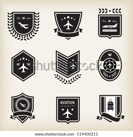 Vector set of plane aviation badge and labels - stock vector