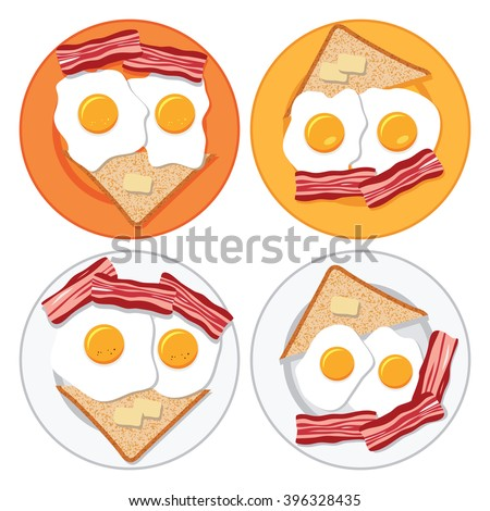 vector set of plates with fried eggs, bacon, bread and butter - stock vector