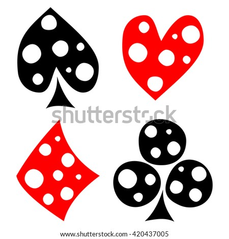 Vector set of playing card symbols. Hand drawn black and red icons with white dots, isolated on the backgrounds. Graphic illustration
