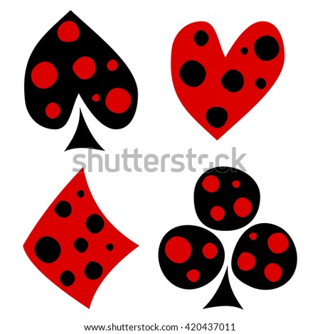 Vector set of playing card symbols. Hand drawn decorative black and red icons with dots isolated on the backgrounds. Graphic illustration