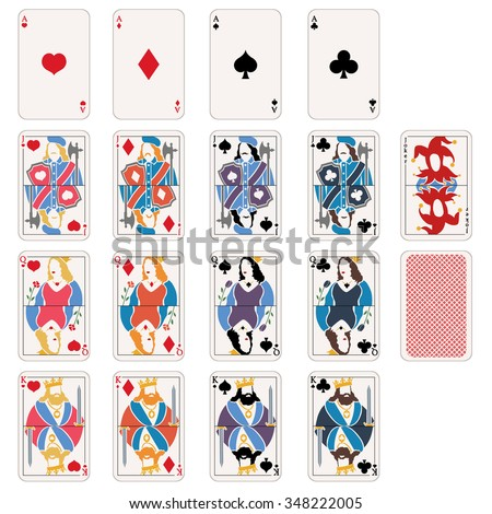 Vector Set of Playing Cards. Aces, Jacks, Queens, Kings - stock vector