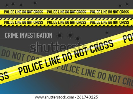 Vector set of Police line do not cross tape, lights, and bullet holes   - stock vector