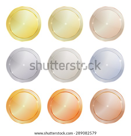 vector set of polished metal circular shape made ??of platinum, gold, red gold, silver, bronze, copper, aluminum, which can be used in web design as the medals, coins, buttons, sewing buttons, signs - stock vector