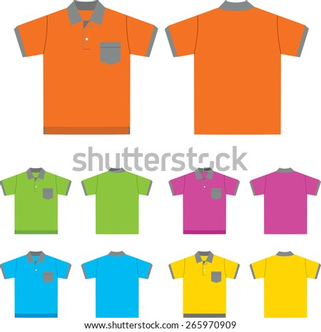 Vector set of  Polo-shirts (front and back views). Design template