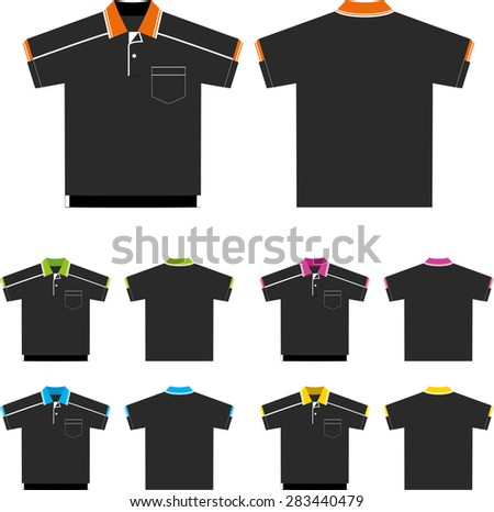Vector set of Polo-shirts (front and back views). Design template - stock vector