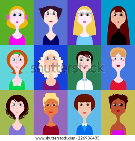 vector set of portraits of women - stock vector