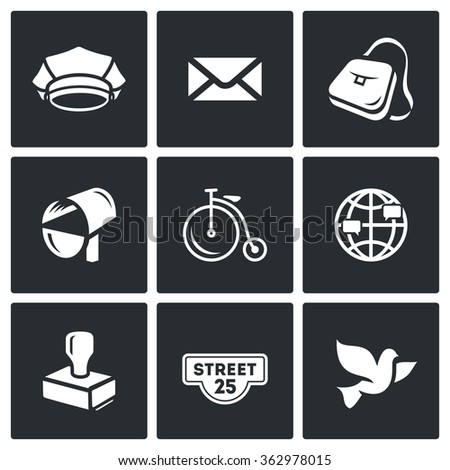 Vector Set of Post Office Icons. Postman, Letter, Delivery, Transport, International, Sending, Address, Carrier Pigeon. Cap, Envelope, Bag, Mailbox, Bicycle, Globe, Stamp, Address label, Bird - stock vector