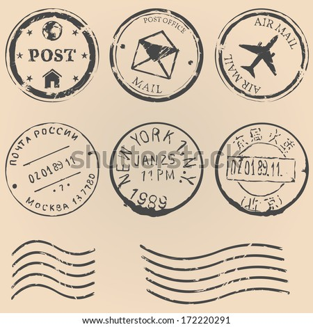 Vector set of postal stamps on brown background. Mail, post office, air mail, russian post, american post, new york, china post, wave stamp. - stock vector