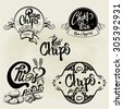 Vector set of potato chips labels, design elements, emblems and badges. Isolated logo illustration in vintage style.