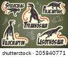 Vector set of prehistoric dinosaur animal labels - stock