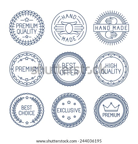 Vector set of premium labels and badges in line style - handmade, best choice and high quality - stock vector