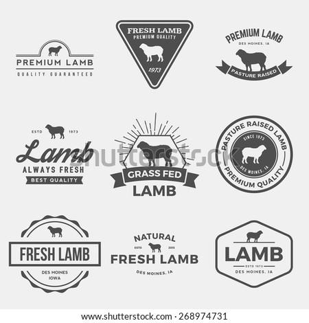vector set of premium lamb labels, badges and design elements - stock vector