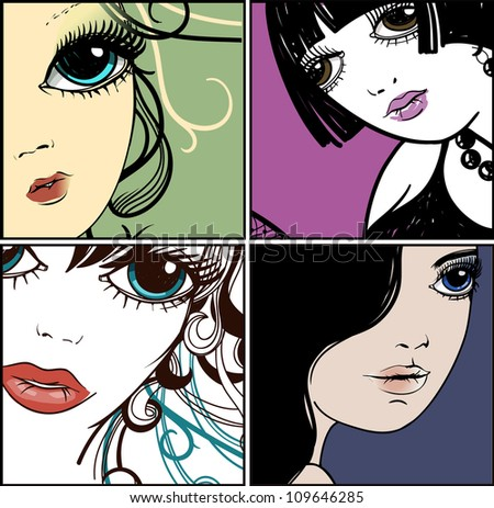 vector set of pretty faces