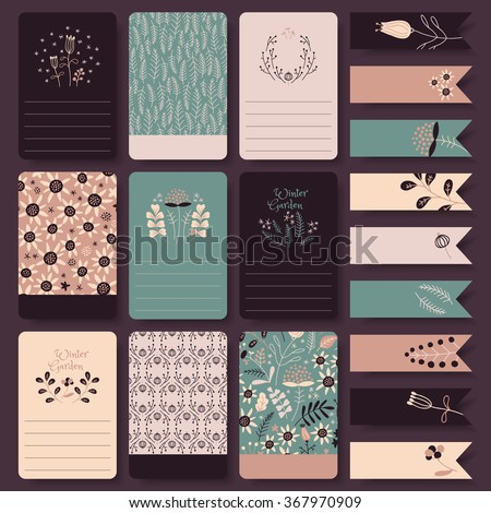 Vector set of printable note cards, stickers and tags with floral drawings - stock vector