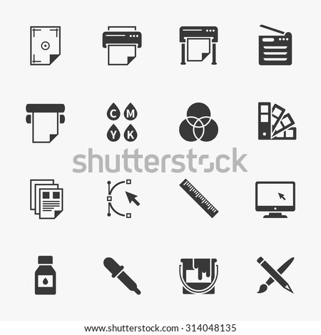 Vector set of printing icons. Palette and printer, curve bezier, color production, pencil and paintbrush illustration - stock vector
