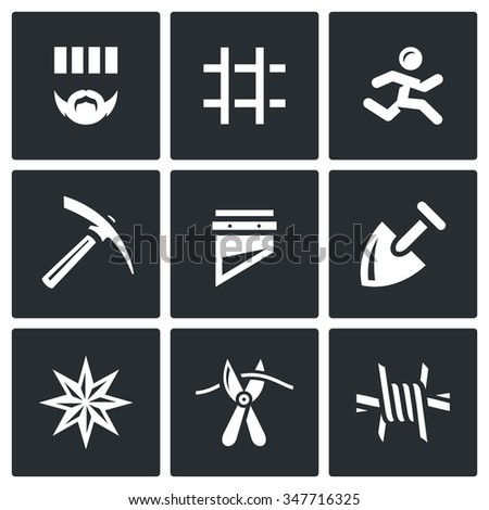 Vector Set of Prison Icons. Prisoner, Detention, Cell, Escape, Work, Death, Penalty, Thief-in-law, Sabotage, Isolation. Criminal, Bars, Runner, Pickaxe, Guillotine, Shovel, Tattoo, Pliers, Barbed Wire - stock vector