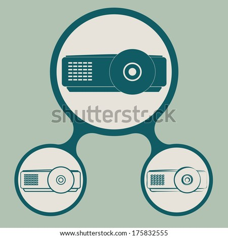 vector set of projector icons - stock vector