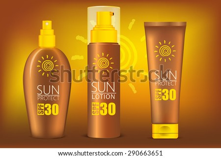 Vector Set of Protection  Sun Care Cosmetics packaging. Suntan Lotion, Oil and Sunscreen Cream.Illustration for your design, advertising posters.It can be used in a large format with your brand name. - stock vector