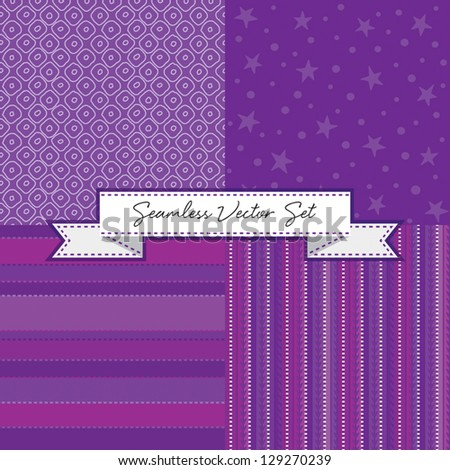Vector set of 4 purple seamless background patterns with ribbon banner. Good for Christmas, Greeting Cards, Gift Wrap, Scrapbook, Surface Textures. See my portfolio for alternate color versions. - stock vector