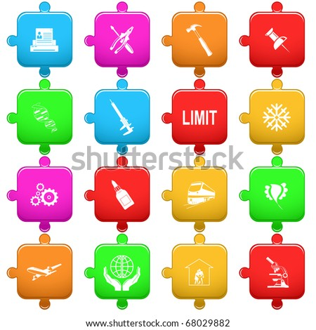 Vector set of puzzle - stock vector