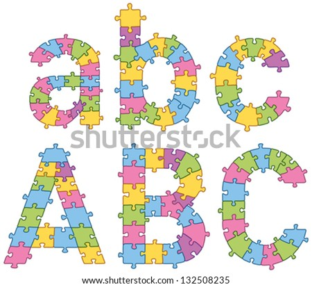 Vector set of puzzle jigsaw letters. All puzzle jigsaw has editable contour, so you can easily change the size of it - stock vector