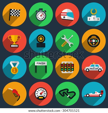 Vector set of racing icons in flat style. Formula one, stopwatch and speedometer, pedestal and helmet, cup winning, finish flag - stock vector