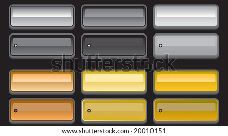 Vector set of rainbow color web 2.0 style shiny metallic glass buttons with on / off states