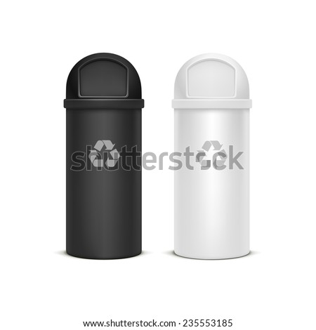 Vector Set of Recycle Bins for Trash and Garbage Isolated on White Background - stock vector