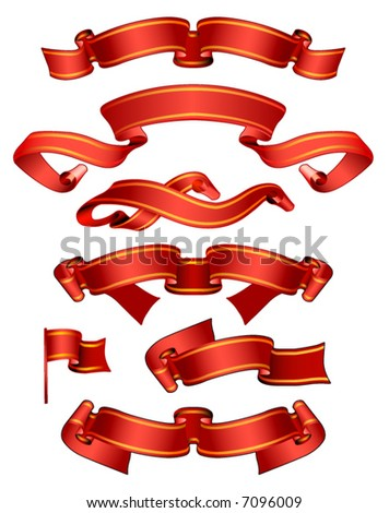 Vector set of red banners - stock vector