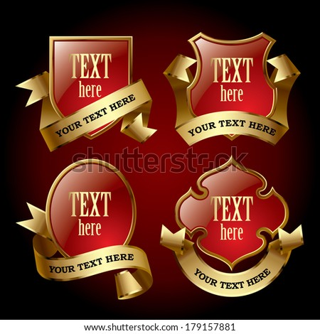 Vector set of red bordered emblems in the form of a shields and other geometrical figure with gold ribbons against a dark red background - stock vector