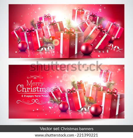 Vector set of red Christmas banners with gift boxes - stock vector
